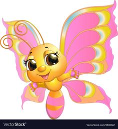 Butterfly vector image on VectorStock Cartoon Butterfly, Cartoon Bee, Cartoon Kunst, Butterfly Art, Cute Cartoon Images, Cartoon Pics, Cute Images, Cute Pictures, Cute Drawings