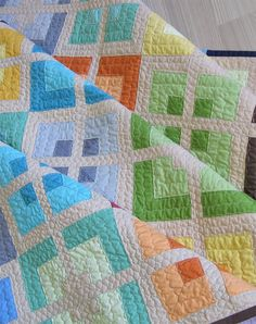 Quilt Pattern-Urban Delight Sew a colorful and modern quilt using this quick strip quilt pattern.Sew a colorful and modern quilt using this quick strip quilt pattern. Strip Quilt Patterns, Patchwork Quilt Patterns, Strip Quilts, Quilt Blocks, Quilting Fabric, Quilting Patterns, Patchwork Ideas, Loom Patterns, Quilting Projects