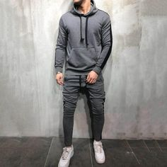 b5dcd6e4 Casual Sport Plain Stripe Hoodie Suit. Vejaco. Drawstring PantsSport ...