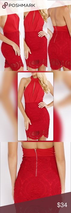 Sexy Halter Lace Backless Dress Made of Lace with Polyester materials sleeveless and a little stretch Dresses