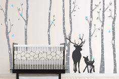 Birch Decal with Deer, Birch Decal, Birch with birds, Birch forest, Nursery Birch Trees Wall Vinyl. $81.00, via Etsy.