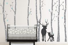 Birch Decal with Deer, Birch Decal, Birch with birds, Birch forest, Nursery Birch Trees Wall Vinyl. $81.00, via Etsy.