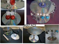 """LAS CREACIONES DE ANTADI: RECICLAJE CDS- DVDS :"""" CD rayado, CD reciclado"""" DVD- CD Recycling"""