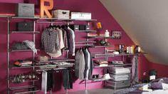 www.deco.fr Dressing combles rangements étagères métal