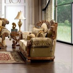 "Homey Design Loveseat HD-369-1  Description:  Achieve a grand and truly unique look in your home with the stunning designs of this beautiful loveseat. Every detail on these pieces exudes elegance and sophistication. Ornate and unique accent pillows complete this collection along with the soft, comfortable seat cushions which add color and texture to the composition.  Features:  Solid hardwood Hand carved wood frame High quality fabric Dimensions:  Loveseat : 74""L x 39""W x 47""H"