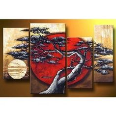 Amazon.com: Asian Zen Decorative Landscape Tree Blossom Oil Painting Hand Painted Wall Art 4 Piece: Home Kitchen