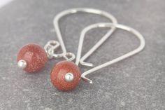 Goldstone dangle  celebration jewellery  by AmySquaredJewellery