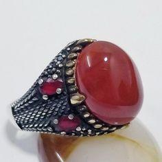925 sterling silver men ring natural red kapidy akeek agate عقيق كبدي يماني Garnet Stone, Red Garnet, Silver Man, Silver Rings, Mens Ring Sizes, Agate Ring, Natural Red, Opal, Gemstone Rings