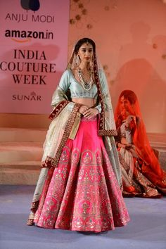Bridal Lehengas - Pastel Blue Blouse and Rani Pink Lehenga with Silver Work and Off White Dupatta   WedMeGood #wedmegood #bridal #lehengas