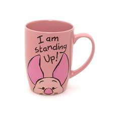 Piglet Peek-a-Boo Mug ($12) ❤ liked on Polyvore featuring home, kitchen & dining, drinkware, mugs, disney, disney mugs and pink mug