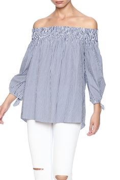 Pin stripe cold shoulder top with tie detail on sleeve hem. Pin Stripe Cold Shoulder Top by Do & Be. Clothing - Tops - Casual Clothing - Tops - Long Sleeve Miami, Florida