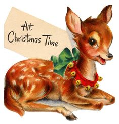 vintage deer Christmas card