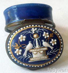 Antique 18th Century Bilston Enamel Patch Pill Box Circa 1780.