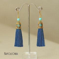 Brush earrings Earrings with tassels Blue earrings Turquoise beads Earrings brass Long earrings Stylish earrings Amazonite earrings by Napoleonka on Etsy