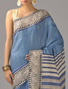 Blue-Beige Tussar Silk Saree