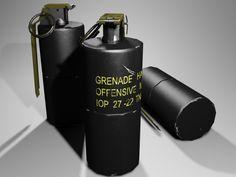 MK3A2 Concussion offensive grenade 3D Model .max .c4d .obj .3ds .fbx .lwo .stl…