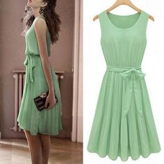 New summer new womens sleeveless Green pleated chiffon vest dress skirt S M L