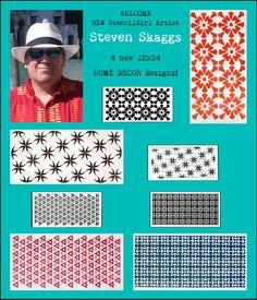 4 new 12x24 home decor stencils by new StencilGirl artist Steven Skaggs