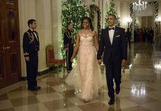 Michelle Obama's 52 Best Looks Of All Time | HuffPost Life Michelle Obama Fashion, Barack And Michelle, Disney Memes, Barack Obama Family, Black Presidents, Metallic Dress, Celebs, Celebrities, Lady Diana