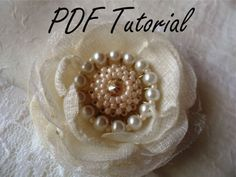 PDF tutorial Ivory glass pearl and crystal brooch by HaniBeading