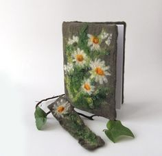 Felted journal notebook cover daisies flower Grey by galafilc