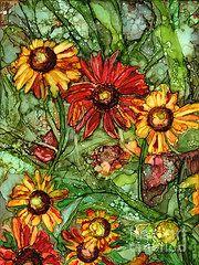 "Vicki Baun Barry - Autumn Color - 11""x14"" alcohol ink painting on yupo"