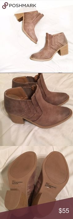 Distressed Taupe Booties Sz 5.5. True to size! Heel is 2 5/8 inches. Not leather. The faded toe makes it look very expensive and like real leather!! Brand is qupid. Brand new never worn. No box Shoes Ankle Boots & Booties