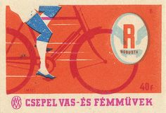 hungarian matchbox label from Vintage Labels, Vintage Posters, Christmas Scrapbook Layouts, Matchbox Art, Japanese Poster, Bicycle Art, Light My Fire, Graphic Design Typography, Graphic Art