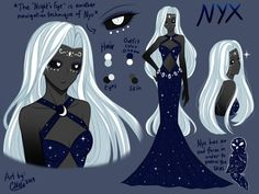 """ -Nyx,The Underworld Goddess o. Underworld Goddess of Night [MAKARIA Extras] Greek Goddess Art, Greek Mythology Art, Greek Gods And Goddesses, Roman Mythology, Underworld Greek Mythology, Hecate Goddess, Greece Mythology, Nyx, Character Art"