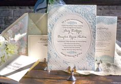 Vintage-Inspired Country Lace Wedding Invitations by Lucky Luxe Couture Correspondence via Oh So Beautiful Paper (5)