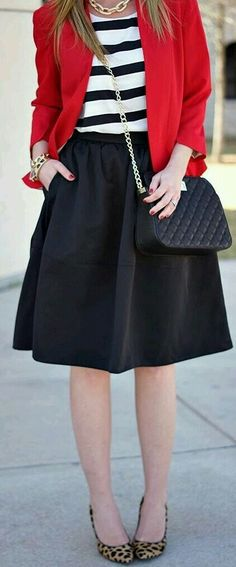 black and white striped top, black midi skirt, leopard heels, black bag, and gold accessories (thoughts on things to go with my red blazer) Work Fashion, Modest Fashion, Trendy Fashion, Womens Fashion, Blazer Outfits, Skirt Outfits, Look Chic, Wearing Black, Black Stripes