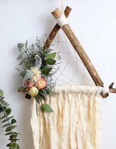 Handmade dreamcatcher featuring a triangle frame, hand dyed cotton fringe and dried flower adornments. Handmade dreamcatcher featuring a triangle frame, hand dyed cotton fringe and dried flower adornments. Dried Flower Bouquet, Flower Bouquet Wedding, Dried Flowers, Home Crafts, Diy Home Decor, Diy And Crafts, Budget Wedding Gifts, Dream Catcher Craft, Dream Catcher Wedding