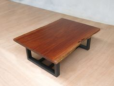 Live Edge Slab Coffee Table | Walnut Top | Metal Legs | – Masaya & Co.
