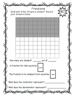 100 activities for the 100 Grid--Great for the 100th day of school celebration $