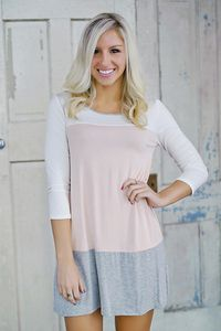 Colorblock tunic dress with back buttons. Ivory/Blush/Grey