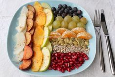 Fall fruit salad with seeds, honey and cinnamon