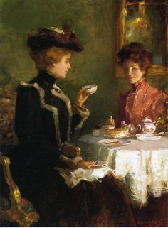 'A Cup of Tea' (1904) by American painter and illustrator Waleter Granville-Smith (1870-1938). He is best known for his oil paintings and watercolors of seascapes, landscapes and genre scenes.The artist's illustrations appeared in many of the leading publications of his time.