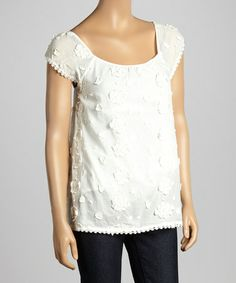 Another great find on #zulily! White Floral Appliqué Cap-Sleeve Top by Purple Clover #zulilyfinds