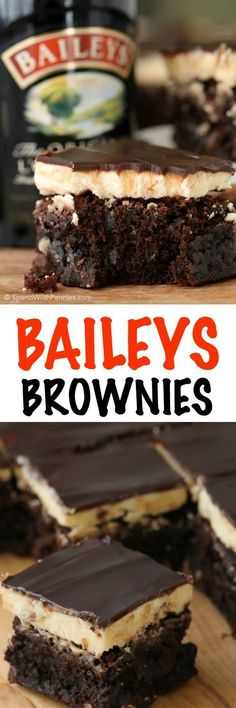 Baileys Brownies! Rich fudgy brownies with a fluffy buttery Baileys Irish Cream frosting and topped with a rich boozy Baileys chocolate ganache. These are definitely the best brownies we've ever had! Best Brownies, Bailey Brownies, Fudgy Brownies, Blondie Brownies, Choclate Brownies, Best Cream Frosting Recipe, Baileys Frosting Recipe, Baileys Cake, Baileys Drinks