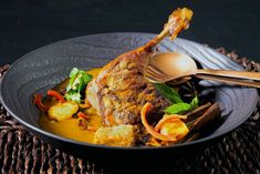 Massaman Curry with Confit Duck Leg and Charred Pineapple Thai Cooking, Cooking Time, Confit Duck Leg, Duck Curry, Massaman Curry Paste, Tamarind Paste, Sous Vide, Roasted Garlic, Curry Recipes