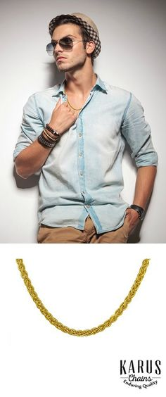 25% off this stunning 14k wheat motif chain for men #goldchainsformen, #goldchains, #karuschains