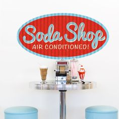 This Air Conditioned Soda Shop Wall Sticker brings the look of a vintage corrugated tin business sign to your kitchen decor that's easy to peel and stick! - May 12 2019 at Retro Home Decor, Easy Home Decor, Fixer Upper, Apartment Therapy, Retro Diner, 1950s Diner, Tabletop Accessories, Shops, Ideias Diy
