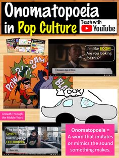 Fun video to teach or revise onomatopoeia for middle and high school students! Perfect for in-class or distance learning! Part of my Figurative Language in Pop Culture Full Unit Bundle! Middle School Grades, Middle School Writing, Middle School English, Middle School Classroom, High School Students, Rhetorical Question, Grammar And Punctuation, Teacher Inspiration, Figurative Language