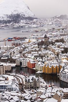 Ålesund, Møre og Romsdal, Norway. The home base for Norway's largest cod-fishing fleet, Ålesund sits on a narrow, fishhook-shaped sea-bound peninsula. Despite its primary source of income, this is no regular Norwegian port. After a devastating fire in 1904, the city was rebuilt in curvaceous Jugendstil – art nouveau – style and today remains Scandinavia's most complete and harmonious example of the era.