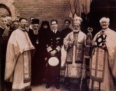 King Peter II with Bishop Nikolai and Bishop Dionisije