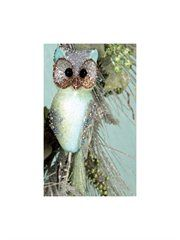 In the Birches Green Glittered and Sequined Owl Clip-On Christmas Ornament