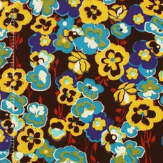 Half Yard Blue Pansy Garden Jersey ITY Knit Fabric