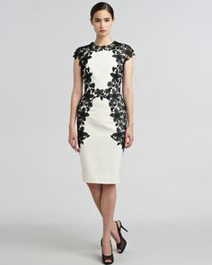 I want this dress!  Why is it 1500?? Lace-Applique Sheath Dress by Lela Rose at Bergdorf Goodman.
