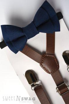 SUSPENDER & BOWTIE SET.  Newborn - Adult sizes. Dark brown pu leather suspenders. Navy bow tie