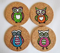 handpainted cork coasters in an owl design by Indybindi on Etsy
